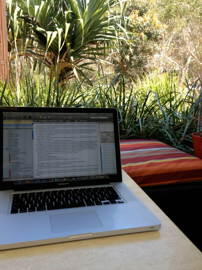 Writer at work in the tropics. This place has really grown on me.