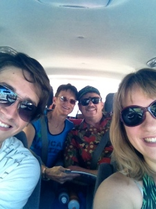 All of us on Christmas Eve. On our way to Estelle's Cousin's house 2 hours out of Perth!