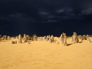The Pinnacle Desert - 2 hours outside of Perth. Johan and I took a day trip out of Perth and so enjoyed it. I got some great ideas for my second book. It was so dark and we heard thunder and saw lightening!